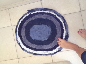 Sample t-shirt crochet rug/mat